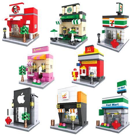 Brick Hsanhe 6405 Mini Apple Store hsanhe view with human figures nano block models mcdonald s starbucks apple store toys