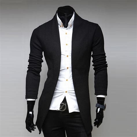 41976 Black White Horn And Knit Casual Top Le250517 Import mens open shawl cardigan turtleneck solid slim fit sweater jacket coat ebay