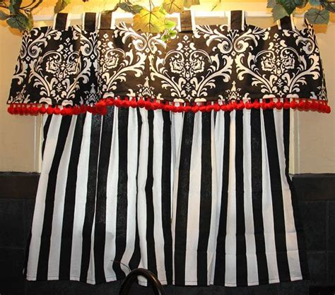 bold black and white kitchen curtains with details
