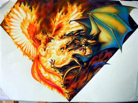 tattoo phoenix vs dragon dragon vs phoenix wallpaper wallpaper wide hd