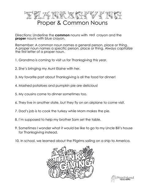 free printable noun worksheets thanksgiving common vs proper nouns worksheet