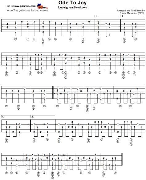 fingerstyle arrangement tutorial ode to joy fingerstyle guitar tablature music