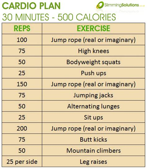 30 minute 500 calorie cardio exercise plan Slimming