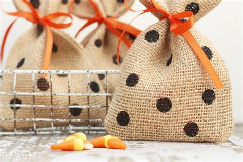 treat crafts treat bags burlap and polka dots