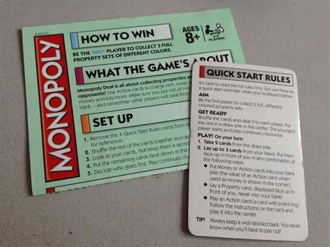 printable monopoly directions how to play monopoly deal snapguide