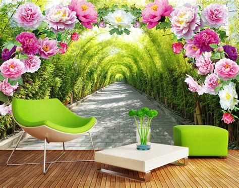 Home Decor Discount Stores by Romantic Rose Flowers Wall Mural Natural Scenery Photo