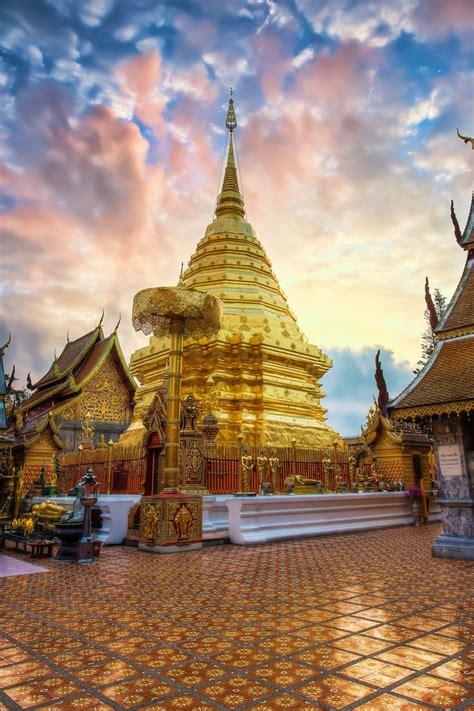 wat phra  doi suthep  day break chiang mai thailand