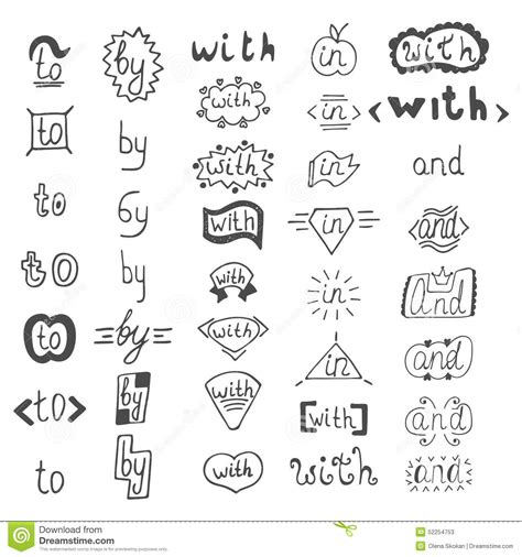 hand draw design elements vector hand drawn design elements catchwords with and in to