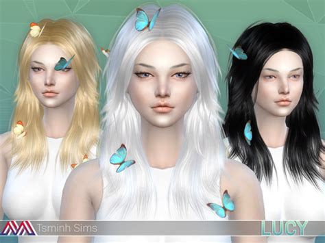 butterfly sims hair sims 4 lucy hair 32 colors and acc butterfly 7 textures by