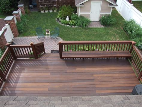 built in bench on deck ipe deck with built in bench traditional deck newark