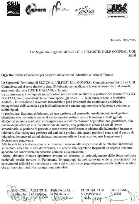 ufficio postale martina franca taranto i sindacati interrompono le relazioni industriali