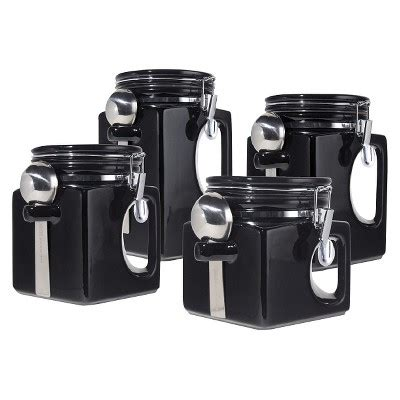 airtight kitchen canisters oggi 4 ez grip airtight ceramic canisters with stainless steel spoons black target