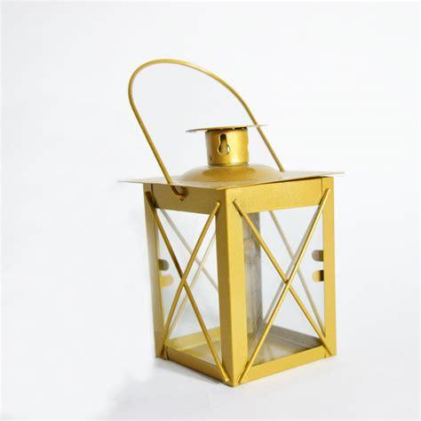 Hurricane Lantern Candle 7 Mini Square Tealight Hurricane Candle Lantern Gold