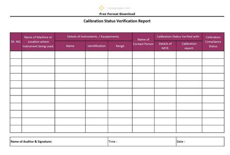 Calibration Status Verification Report Format Excel Pdf Sle Calibration Template Excel