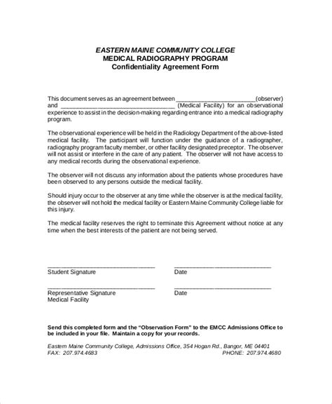 10 medical confidentiality agreement templates free
