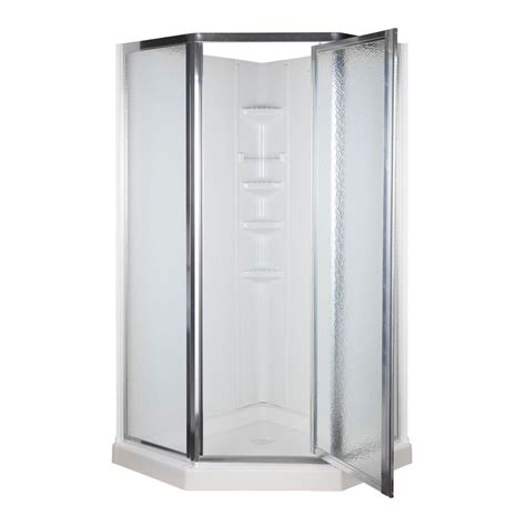 Shower Stall Systems 38 In X 38 In X 74 1 4 In Neo Angle Shower Kit In White