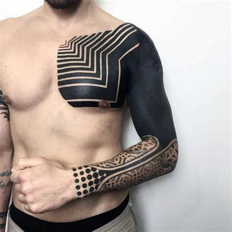 70 all black tattoos for men blackout design ideas