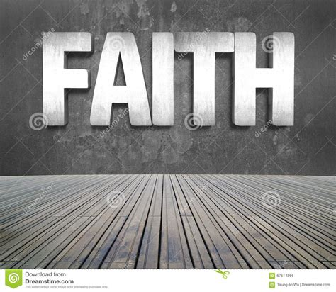 faith word on concrete wall with wooden floor stock photo