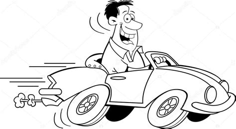 cartoon sports car black and white cartoon man driving a car black and white line art