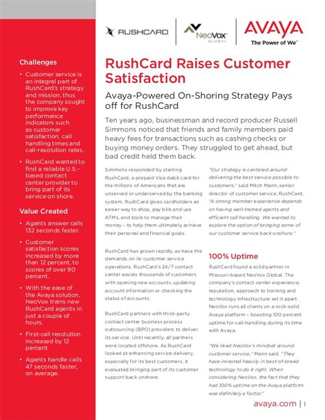 rushcard raises customer satisfaction