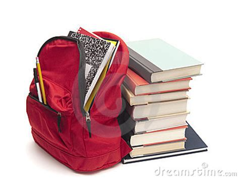 full backpack  school textbooks royalty  stock images image
