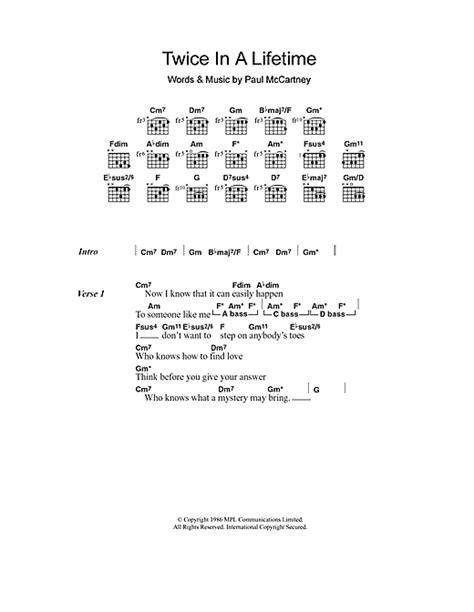 lyrics mccartney in a lifetime sheet by paul mccartney lyrics