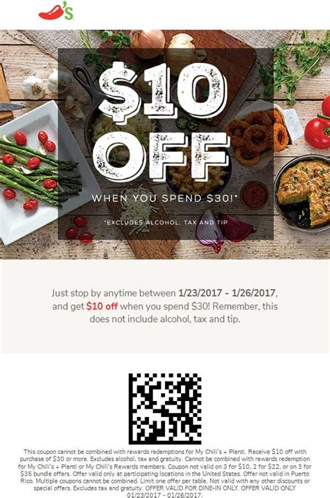 chilis to go coupon 2017 chilis coupons eat free with an at chilis