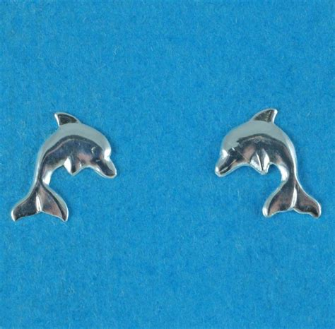 Sterling Silver Dolphin Studs silver dolphin stud earrings on jewellery world