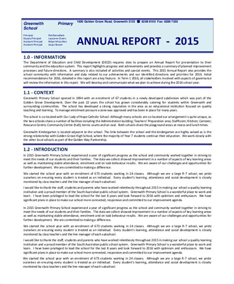 annual report template sle annual reports 8 documents in pdf