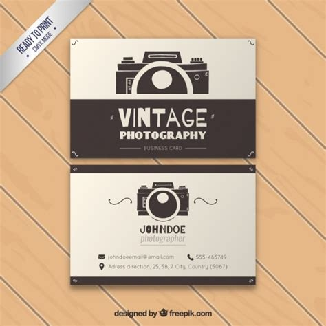 vintage photography business card vector premium