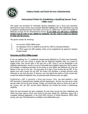 Fillable Online In Indiana Family And Social Services Administration Instructional Packet For Miller Trust Template