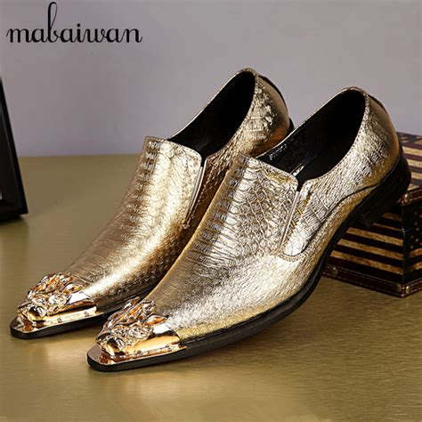 pattern on dress shoes high quality dragon metal toe men dress shoes gold silver