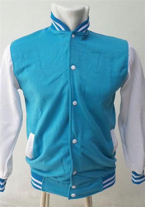 Jaket Turkis jaket baseball badan turkis lengan putih ukuran m jaket baseball varsity baseball