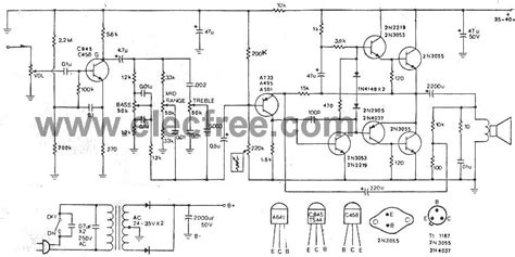 integrated lifier schematic integrated power lifier otl 35w by 2n3055 electronic projects circuits
