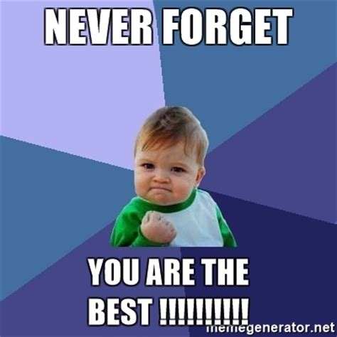 Never Forget Meme - never forget you are the best success kid