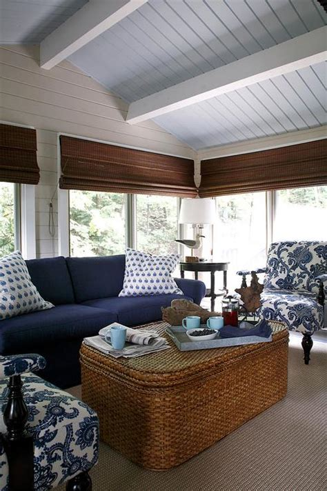 Marbella Set Navy sunroom with woven ottoman coffee table cottage deck patio