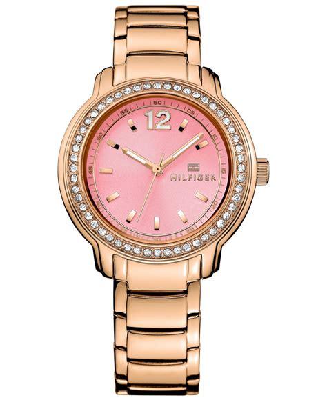 Hilfiger 1781439 Rosegold Pink hilfiger s sport gold tone bracelet 36mm 1781560 in pink lyst