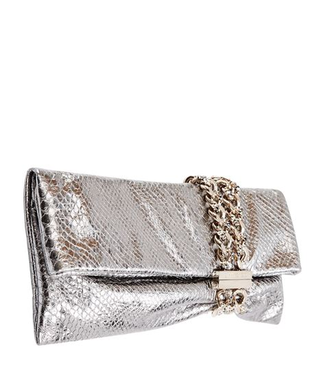 Jimmy Choo Metallic Clutch by Jimmy Choo Chandra Metallic Python Clutch In Metallic Lyst
