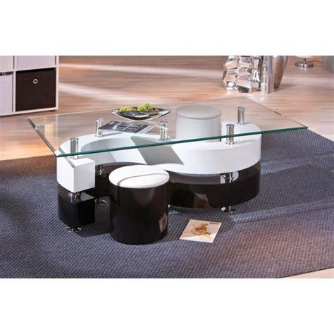 table basse design noir et blanc avec poufs achat