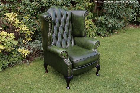 green leather chesterfield armchair antique green leather chesterfield button wing back