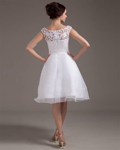 White Sort Wedding Dresses by Scoop Lace Organza White 2013 Wedding Dresses On