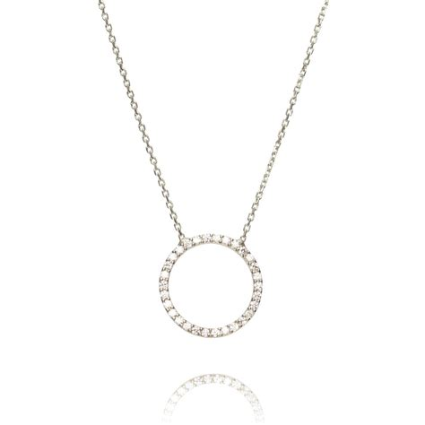 ingenious sterling silver necklace with open pave circle