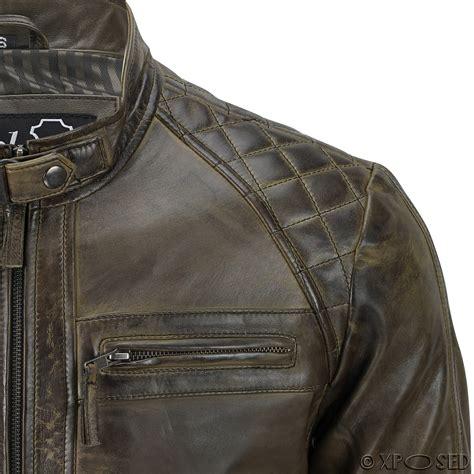 mens casual biker mens real leather washed brown black vintage zipped smart