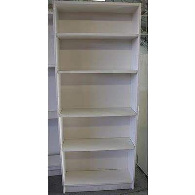white melamine bookcase lot 732788 allbids