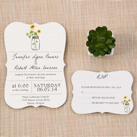 rustic sunflower jars wedding invitations bracket