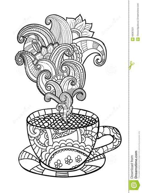 Animorphia Adult Colouring Book By Vector Coffee Or Tea Cup With Abstract Ornaments Stock