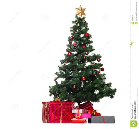 stock photos christmas tree with gifts on white