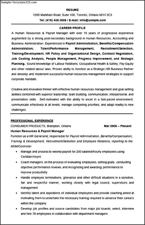 Exle Resume Human Resources Administrator Human Resources Manager Resume Format Template Sle