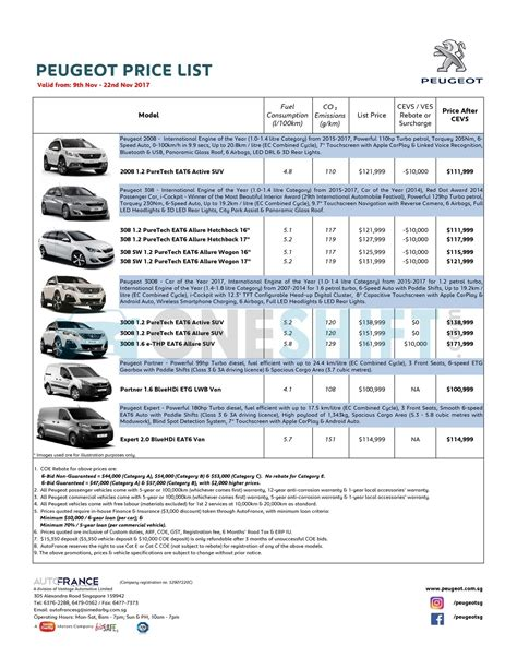 peugeot price list peugeot singapore printed car price list oneshift com