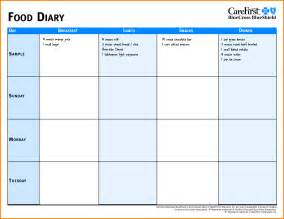 Food Diary Template by Doc 12751650 Calorie Diary Template Free Printable
